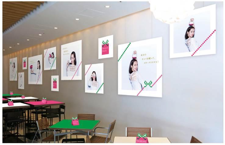 水原希子-パナソニックビューティ-キレイを贈るクリスマスカフェ-六本木ヒルズ 店内装飾