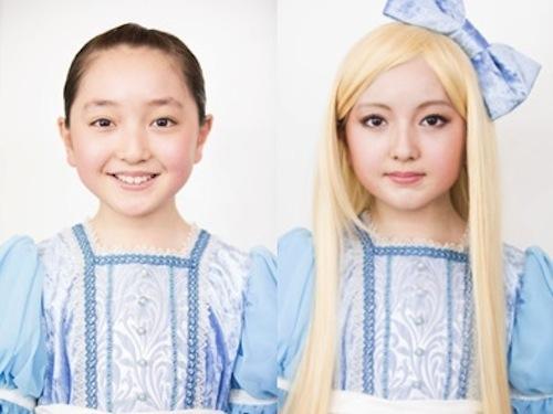 谷花音 特殊メイク 大人アリス before-after