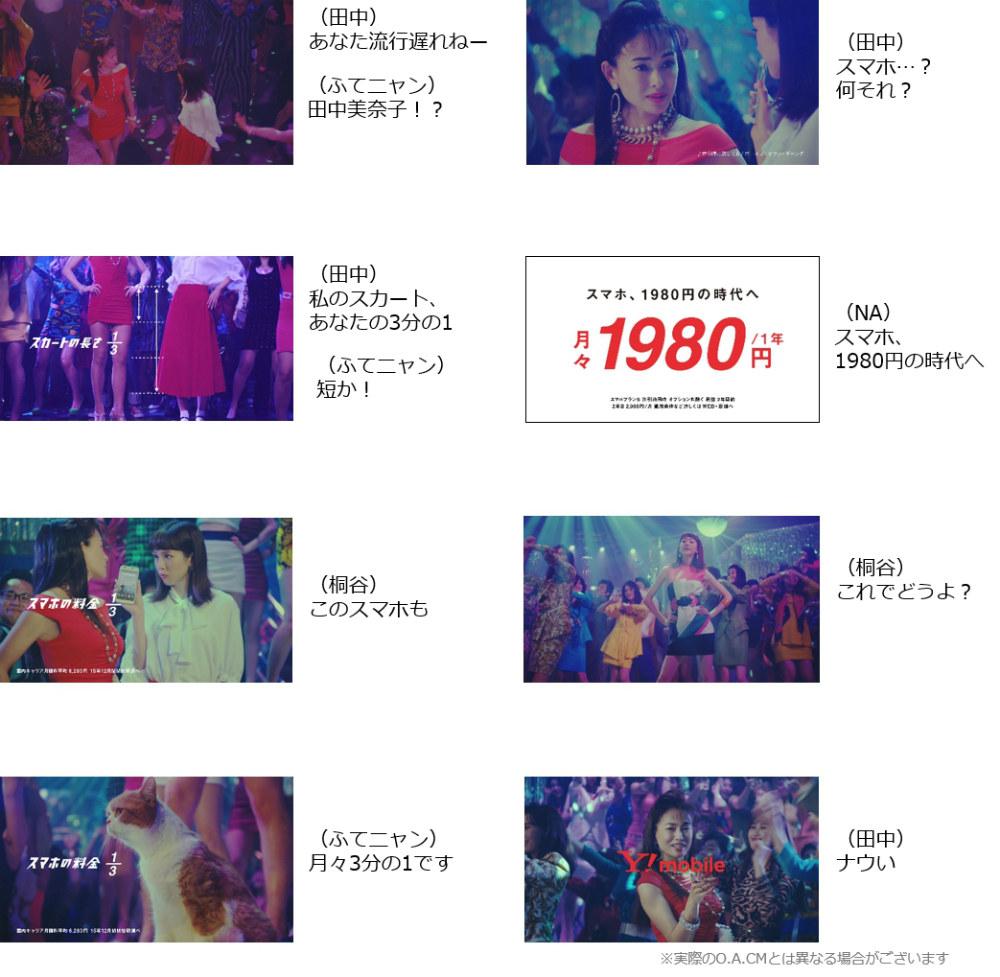 田中美奈子 桐谷美玲 Y!mobile 新CMストーリーボード