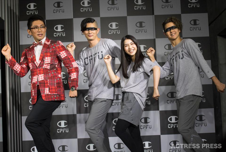 """""""腹筋アイドル""""田野優花(AKB48)、Champion CPFU 記者発表会 ビビる大木"""