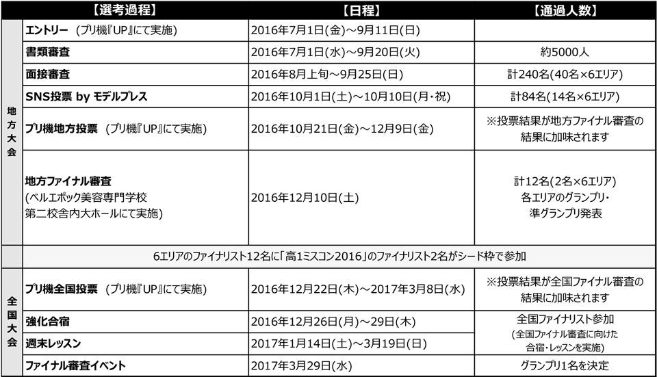 女子高生ミスコン2016-2017 選考方法/スケジュール