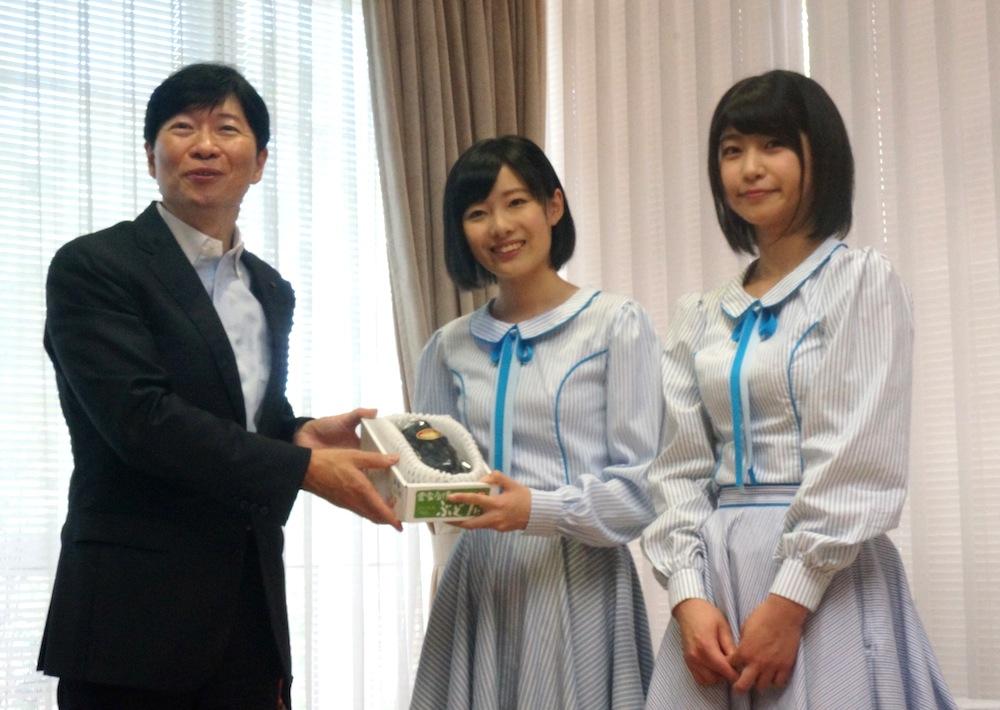 STU48の張織慧と藤原あずさ、岡山県庁