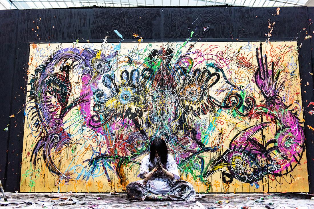 """小松美羽/米クリーブランド美術館にでの""""神道と現代アートの融合""""をライブペイント"""
