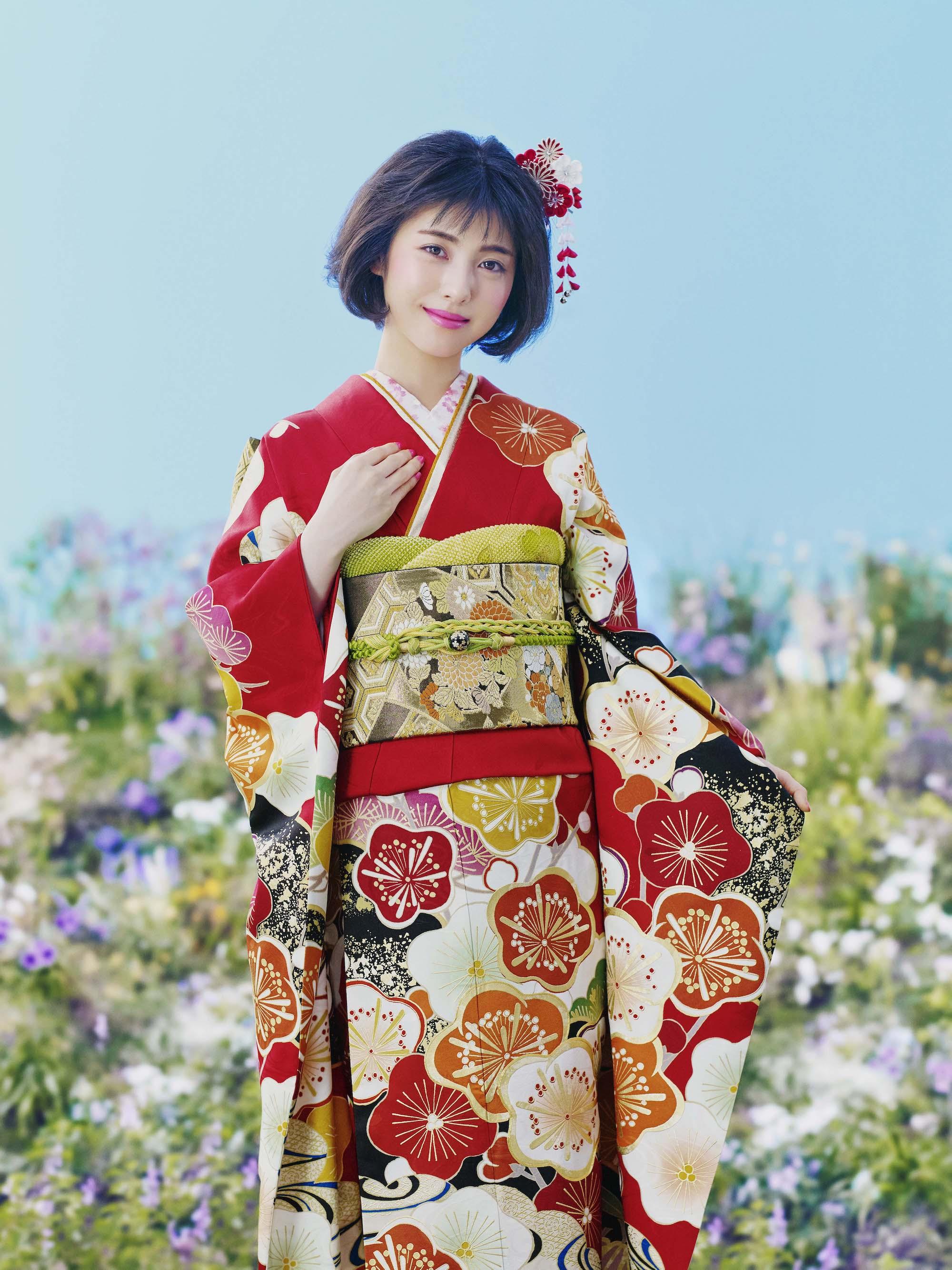 浜辺美波/京都きもの友禅の着物・昭和_商品型番No.1857