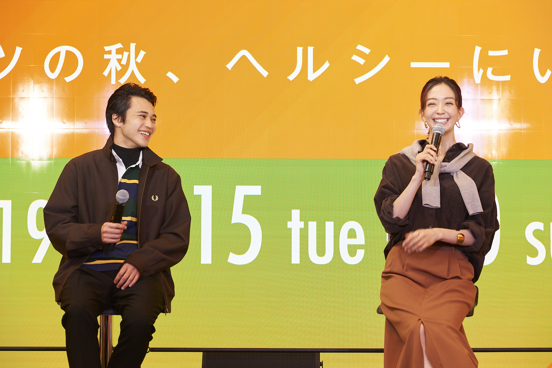松島花、中田圭祐/「MARUNOUCHI FASHION WEEK 2019」オープニングイベント(2019年10月15日)