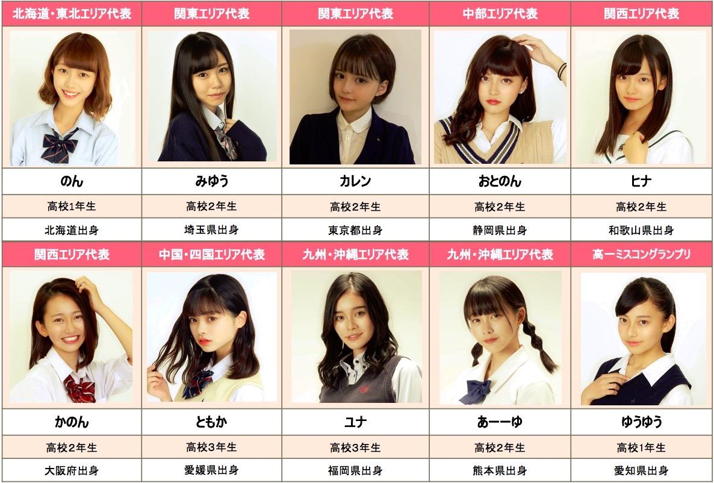 「女子高生ミスコン2019」ファイナリスト10名