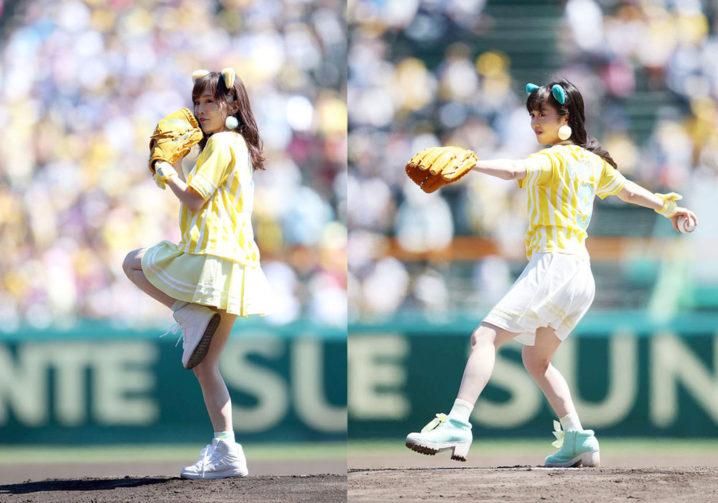 NMB48・川上千尋 & 山本彩、阪神タイガースのガールズフェスタ「TORACO DAY」の始球式に登場!