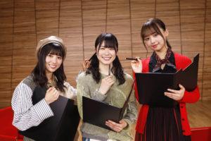 左から:河田陽菜、丹生明里、濱岸ひより(日向坂46)